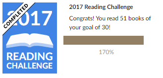 My 2017 Goodreads reading challenge, in which I read 51 books of my goal of 30.